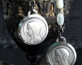 GRACE Antique French Medal Earrings. Sweet MOP Dangles. Beautiful Sterling Silver Lourdes & Virgin Mary Medals. Antique Assemblage No.34