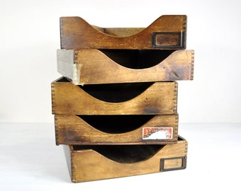 Vintage Wood Desk File Tray / File Box Wood Desk Accessories / Mid Century Office Decor