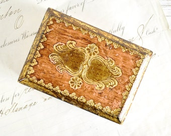 Italion Florentine Box, Heart Trinket Box, Wood Jewelry Box