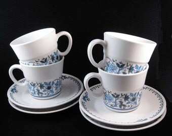 Noritake Progression Blue Moon Tea Cups/Coffee Cups & Saucers (8 pcs) #9022