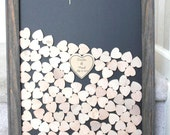 Wedding guestbook Frame with hearts Drop Box Guestbook Natural Wood Alternative Unique Heart Guestbook  Wood frame with hearts