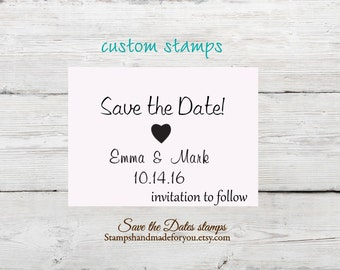 Save the Date Rubber Stamp , DIY Bride Wedding Invitation custom Personalize with Names and Date
