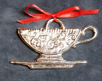 Pewter Teacup Ornament