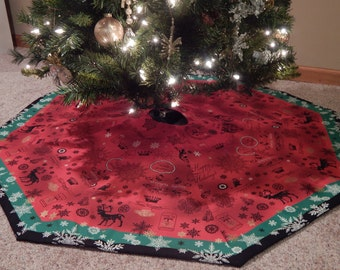Red Green Black Striped Octagon Christmas Tree Skirt IN STOCK