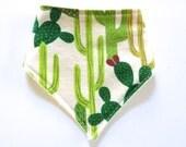 Bandana Style Baby Bib - Drool Bib - Bibdana - Gender Neutral Baby Bib - Modern Cactus Print Bib - Beach Style - Southwest Saguaro