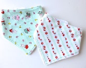 Baby Bibs - Bibdanas - Bandana Style Drool Bib - Teething - Cotton Terry Slouchy Style - Springtime Bunnies - Sweet Calico in Mint and Red