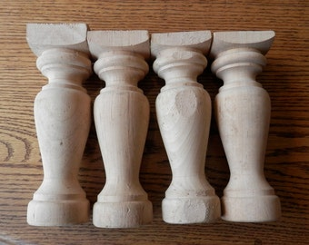 set of 4 vintage wooden legs