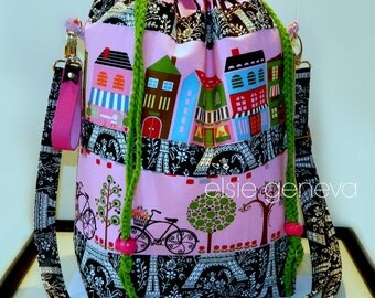 Drawstring Bag Paris Eiffel Tower & Bicycle - Black and Pink - Made to Order