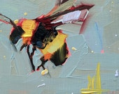 Bumblebee no. 7 original Oil Painting by Angela Moulton 4 x 4 inch on Birch Plywood Panel pre-order
