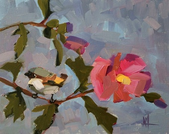 Sparrow and Rose of Sharon Original Bird and Floral Oil Painting by Angela Moulton 11 x 14 inch on Linen