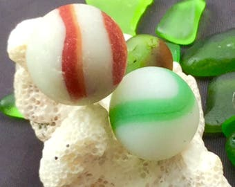 Beach Glass or Sea Glass  of Hawaii's Beaches Sea Glass MARBLES! 2! RED! GREEN Swirl Holiday Gift! Sea Glass Marbles! Beach Glass Marbles!