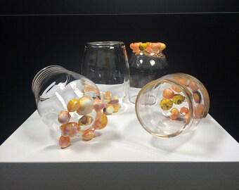 Set of 4 - Handblown glass tumblers  YELLOW-AMBER-PINK
