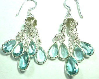 Blue Topaz Chandelier Earrings in Sterling 5 Blue Topaz Faceted Drops on Sterling Chains Earrings