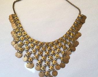 Vintage Boho Egyptian Dangle Bib Necklace