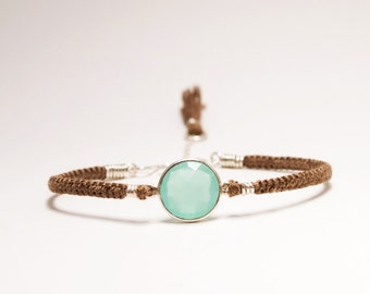Macrame Friendship Bracelet with Aqua Chalcedony Bezel and Silk Band