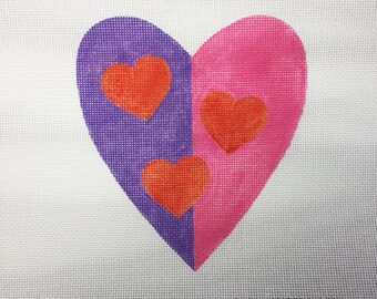 Valentine Heart Purple & Pink with red hearts Needlepoint - Jody Designs #VH5
