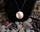 Handmade, relief carved porcelain Celtic Wolf pendant/necklace in black or brown