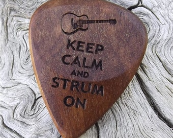 Wood Guitar Pick - Premium Quality - Handmade With Rustic California Eucalyptus - Laser Engraved Both Sides - Actual Pick Shown