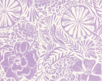 Horizon Flora Orchid - Kate Spain for Moda - 1 Yard Cut - 27190 15 - Lavender White Floral Fabric