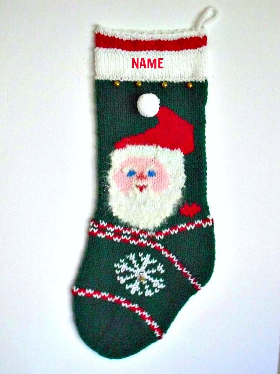 """Letter to Santa 21/"""" knit Christmas Stocking with plush cuff Personalized"""