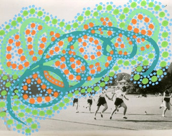 Running Art Collage On Old Photo, Running Girl Photo Art, Vibrant Handmade Original Affordable Art Decorated With Orange and Mint Green Pens