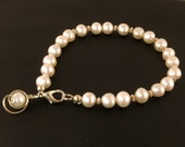 White Pearl Silver Bracelet, White Freshwater Pearl Single Strand Bracelet, Pearl Jewelry Gift