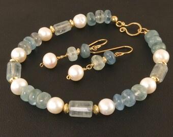 Aquamarine Gemstone Bracelet Jewelry Gift Set, Blue Gemstone and White Pearl Single Strand Bracelet Jewelry Gift For Her,Aquamarine Jewelry