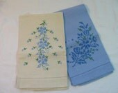 The Sweetest Pair of Vintage Linen Guest Towels w/ Cross Stich Flowers