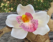 Hawaiian - Tropical Ivory - Pink Orchid  hair Flower clip