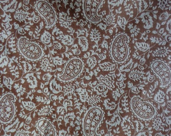 Textured Paisley Pattern Fabric in Soft Brown and Off White, One Yard Plus 23 inches
