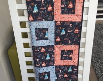 Baby quilt, cot quilt, handmade baby quilt, teepee theme, baby girl quilt, baby shower gift.