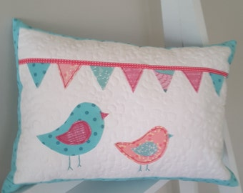bird and bunting cushion, decorative cushion,  decorative pillow,  baby shower gift, nursery cushion