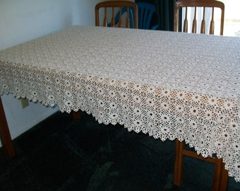 Crocheted Forget-Me-Knot Tablecloth in Ecru