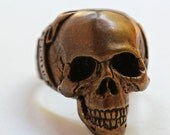 Bronze Skull Ring / Another Day Above Dirt / Memento Mori Jewelry Made in NYC