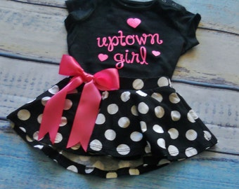 Uptown Girl Outfit Girl's Toddlers Skirt and Shirt Outfit Toddlers Outfit Uptown Girl Size 9 Months Ready To Ship