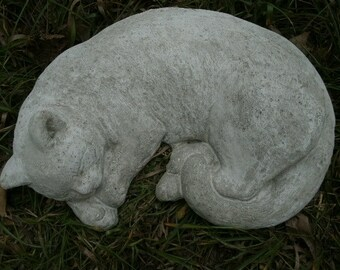 """Large Cement 15.5"""" Long Lying Sleeping Curled Cat Gorgeous Statue Concrete"""