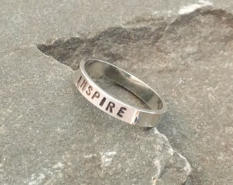 Inspire Stacking Ring, Affirmation Ring, Mantra Stacking Ring, Meditation Ring, Inspirational Ring, Inspired Ring, Stackable Word Ring