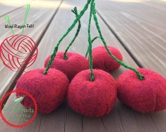 Felt Cherries Pretend Play Food for Kids - Wool Rayon Felt Red Cherries - Felt Garden Cherries - Hand Sewn Felt Cherries - Cherry Plush Toys