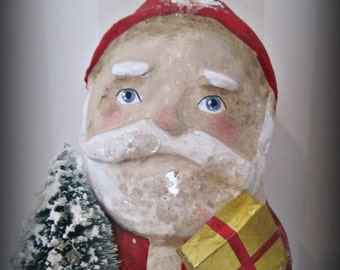 Santa Claus papier mache folk art hand made