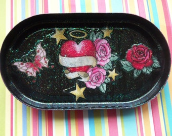 Decoupage Tray Angel Heart Roses Skull Butterfly and Stars One of a Kind Upcycled Repurposed