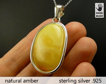 BIG Natural Amber Pendant with Sterling Silver .925 chain in a gift box