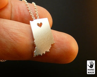 INDIANA State Map Handmade Personalized Sterling Silver .925 Necklace in a gift box