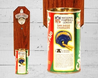 Barware  Bottle Opener San Diego Chargers Wall Mounted Bottle Opener with Vintage Canada Dry Pop Can Cap Catcher