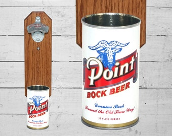 Point Bock Beer Wall Mounted Bottle Opener with Vintage Beer Can Cap Catcher - Gifts for Groomsmen