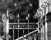 Paris Print, Black and White Photography, Gray Wall Art, Rustic Architecture, Paris Photography, Fence, Office Decor