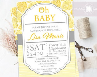 Baby Shower Invite, Printable Baby Shower, Gender Neutral Invitation, Birthday Invitation, Yellow, Grey, Printable, Shower, jadorepaperie