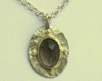 Hippie necklace, gypsy pendant, smoky quartz necklace, silver gold necklace, two tone pendant, floral pendant - Behind the scenes N8853X-1