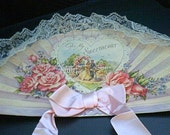 Vintage Lace Fan Greeting Card, Handmade, Sweetheart, Couple