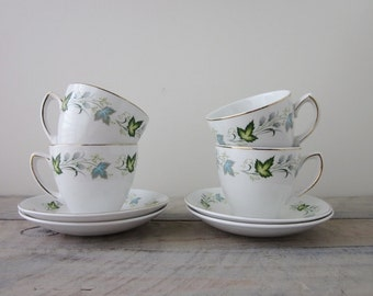 Vintage Mid Century Modern China Teacups and Saucers Set of Four Satin White Grindley England Aqua and Green Leaf Pattern