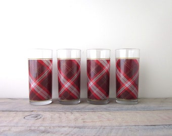 Vintage Red Plaid Glasses Tumblers Set of Four Barware